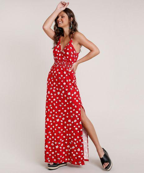 Vestido-Feminino-Longo-Estampado-Floral-com-Transpasse-Alca-Fina-Vermelho-9777581-Vermelho_1