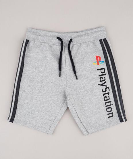Bermuda-Infantil-PlayStation-em-Moletom-com-Faixas-Laterais-Cinza-Mescla-9734670-Cinza_Mescla_1
