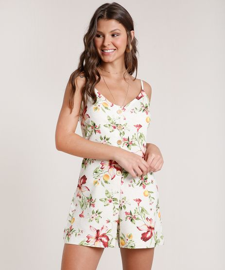 Macaquinho-Feminino-Estampado-Floral-com-Linho-e-Botoes-Alca-Fina-Bege-Claro-9741746-Bege_Claro_1