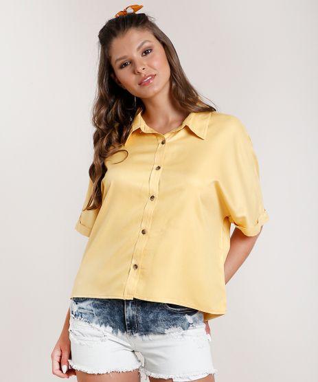 Camisa-Feminina-Oversized-Manga-Curta-Amarela-9833554-Amarelo_1
