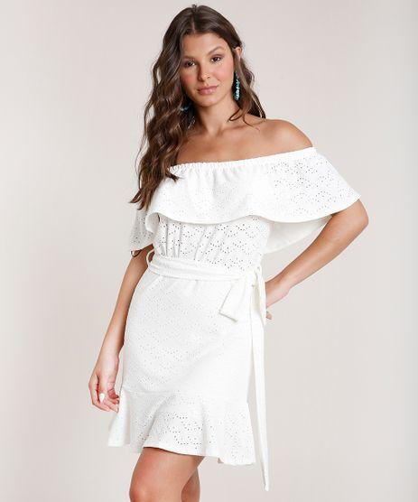 Vestido-Feminino-Curto-Ciganinha-em-Laise-com-Faixa-para-Amarrar-Off-White-9821202-Off_White_1