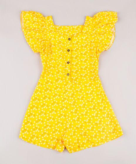 Macaquinho-Infantil-Estampado-Floral-com-Botoes-Manga-Curta-Amarelo-9673827-Amarelo_1