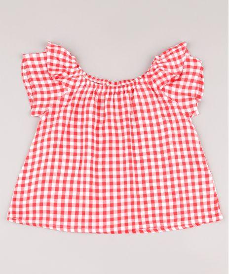 Blusa-Infantil-Estampada-Xadrez-Vichy-com-Babado-Manga-Curta-Vermelha-9682741-Vermelho_1