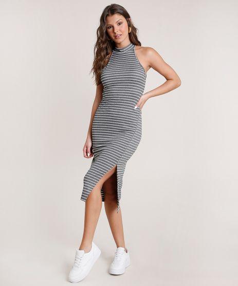 Vestido-Feminino-Midi-Halter-Neck-Listrado-com-Fenda-Cinza-Mescla-Escuro-9806243-Cinza_Mescla_Escuro_1
