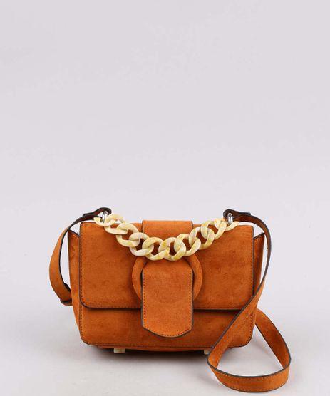Bolsa-Feminina-Transversal-com-Corrente-Caramelo-9604670-Caramelo_1