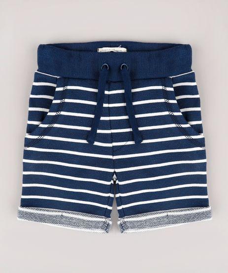 Bermuda-Infantil-em-Moletom-Listrado-com-Bolso--Azul-Marinho-9665845-Azul_Marinho_1