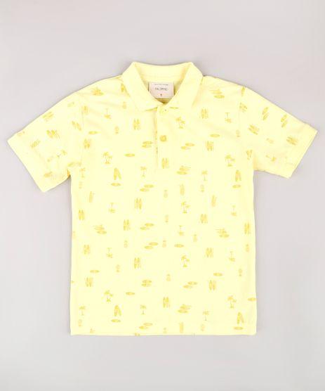 Polo-Infantil-em-Piquet-Estampada-Tropical-Manga-Curta-Amarelo-Claro-9721214-Amarelo_Claro_1