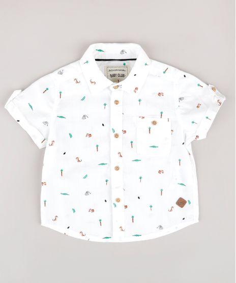 Camisa-Infantil-Estampada-de-Bichos-com-Bolso-Manga-Curta-Off-White-9670876-Off_White_1
