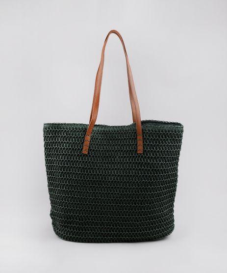 Bolsa-Feminina-Shopper-Grande-em-Palha-Verde-Escuro-9602439-Verde_Escuro_1