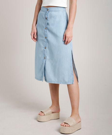 Saia-Jeans-Feminina-Midi-com-Botoes-e-Fenda--Azul-Claro-9817004-Azul_Claro_1