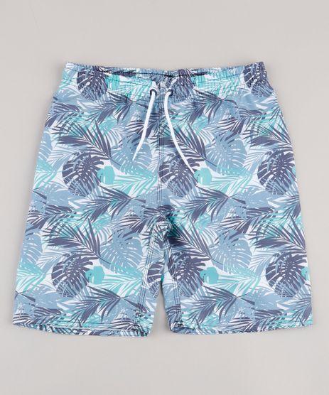 Bermuda-Surf-Infantil-Estampada-de-Folhagem-com-Bolso-Branca-9765350-Branco_1