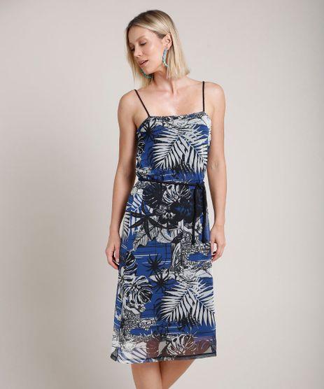 Vestido-Feminino-em-Tule-Estampado-de-Folhagens-Alca-Fina-com-Cinto--Azul-9706146-Azul_1
