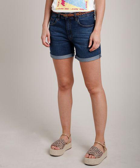 Short-Jeans-Feminino-Midi-Barra-Dobrada-com-Cinto-Azul-Escuro-9823282-Azul_Escuro_1