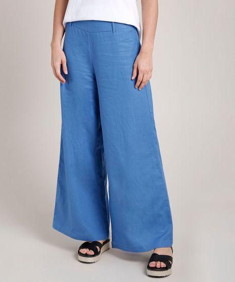 Calca-Feminina-Pantalona-com-Linho-Azul-9685468-Azul_1