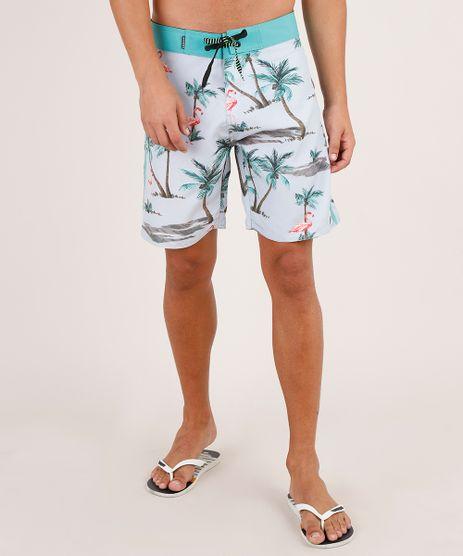 Bermuda-Surf-Masculina-Estampada-de-Flamingos-com-Bolso-Cinza-Claro-9743860-Cinza_Claro_1