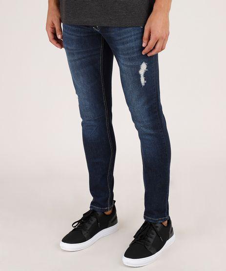 Calca-Jeans-Masculina-Skinny-com-Puidos-Azul-Escuro-9826060-Azul_Escuro_1