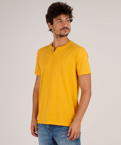 Camiseta-Masculina-Basica-Manga-Curta-Gola-Portuguesa-Mostarda-9776427-Mostarda_1
