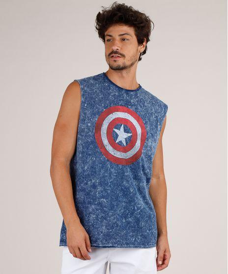 Regata-Masculina-Capitao-America-Marmorizada-Gola-Careca-Azul-Marinho-9800813-Azul_Marinho_1