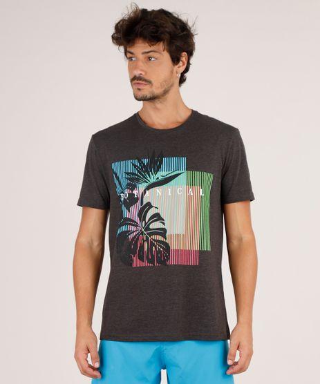 Camiseta-Masculina--Botanical--Manga-Curta-Gola-Careca-Cinza-Mescla-Escuro-9738897-Cinza_Mescla_Escuro_1