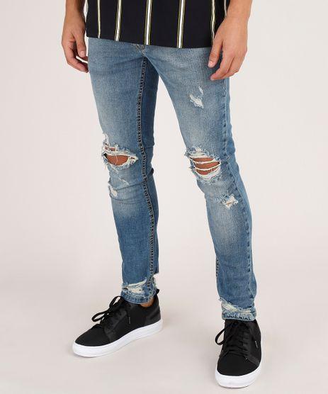 Calca-Jeans-Masculina-Skinny-Destroyed-Azul-Medio-9791484-Azul_Medio_1