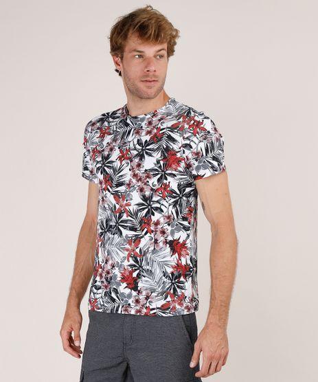 Camiseta-Masculina-Slim-Fit-Estampada-Floral-com-Folhagem-Manga-Curta-Gola-Careca-Branca-9724019-Branco_1