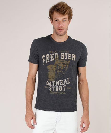 Camiseta-Masculina-Urso--Fred-Bier--Manga-Curta-Gola-Careca-Cinza-Mescla-Escuro-9800072-Cinza_Mescla_Escuro_1