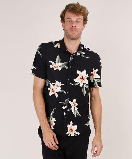Camisa-Masculina-Relaxed-Estampada-Floral-Manga-Curta-Preta-9657150-Preto_1