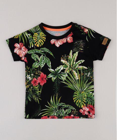Camiseta-Infantil-Blueman-Tal-Pai-Tal-Filho-Folhagem-Tropical-Manga-Curta-Preto-9719997-Preto_1