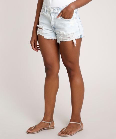 Short-Jeans-Feminino-Cintura-Alta-Destroyed-Azul-Claro-9834407-Azul_Claro_1