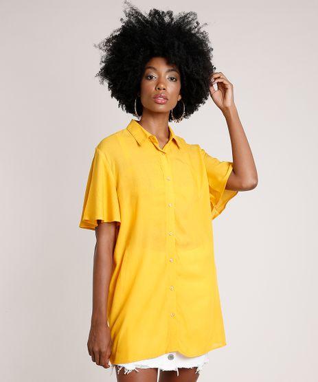 Camisa-Feminina-Oversized-Maquinetada-Manga-Curta-Mostarda-9672423-Mostarda_1