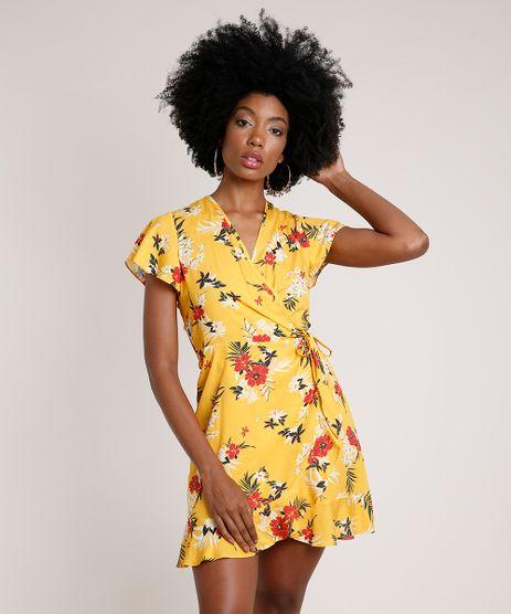 Vestido-Feminino-Curto-Envelope-Estampado-Floral-Manga-Curta-Amarelo-9619876-Amarelo_1