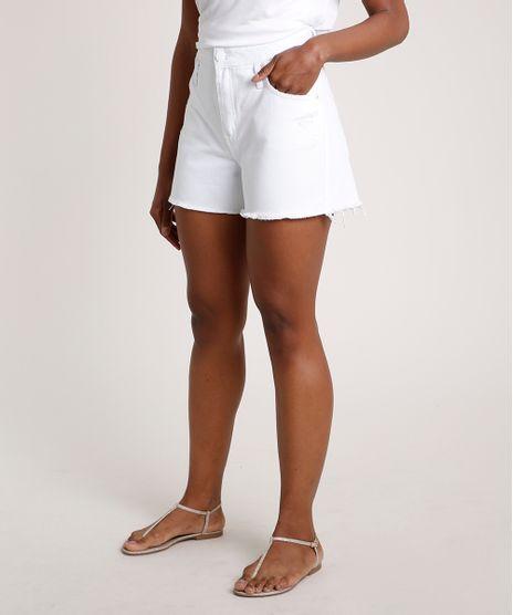 Short-de-Sarja-Feminino-Cintura-Super-Alta-com-Rasgos-Branco-9833801-Branco_1