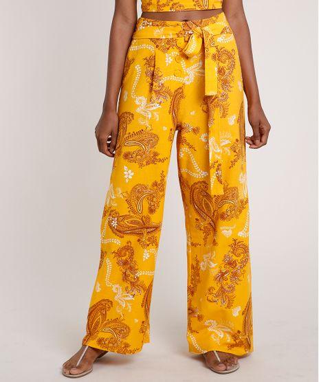 Calca-Feminina-Pantalona-Estampada-Paisley-Mostarda-9681405-Mostarda_1