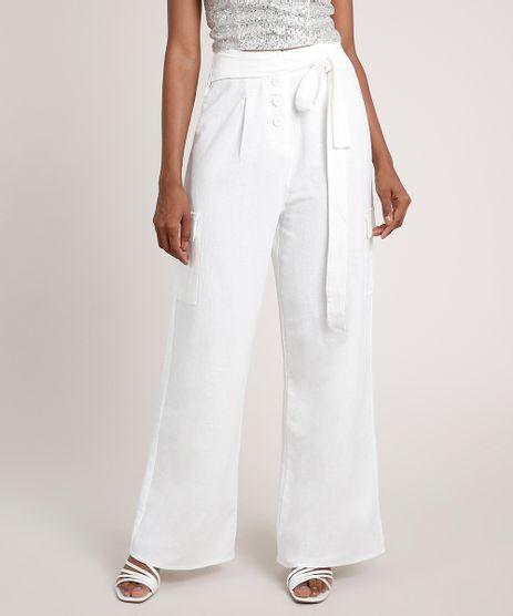 Calca-Feminina-Pantalona-Cargo-com-Botoes-e-Faixa-para-Amarrar-Off-White-9681407-Off_White_1