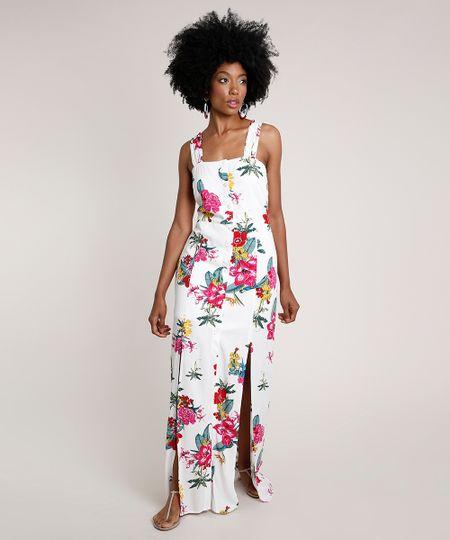 Menor preço em Vestido Feminino Longo Estampado Floral Alça Larga Off White - PP