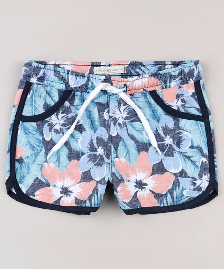 Short-Infantil-Running-Estampado-Floral-com-Lurex-Azul-Marinho-9751370-Azul_Marinho_1