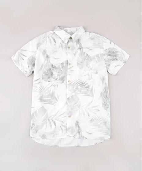 Camisa-Infantil-Estampada-de-Folhagens-Manga-Curta-Bege-Claro-9774690-Bege_Claro_1