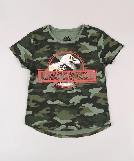 Blusa-Infantil-Jurassic-World-Estampada-Camuflada-Manga-Curta-Decote-Redondo-Verde-Militar-9741327-Verde_Militar_1