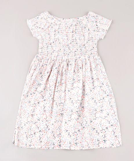 Vestido-Infantil-Estampado-Floral-com-Lastex-Manga-Curta-Branco-9676017-Branco_1
