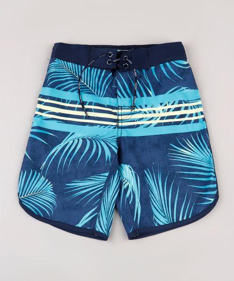 Bermuda-Surf-Infantil-Estampada-de-Folhagens-e-Listras-com-Cordao-Azul-Marinho-9667417-Azul_Marinho_1