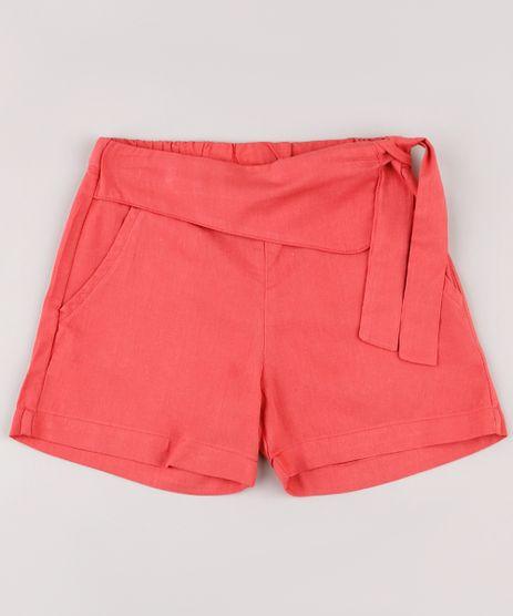 Short-Infantil-com-Amarracao-e-Bolsos-Coral-9487471-Coral_1