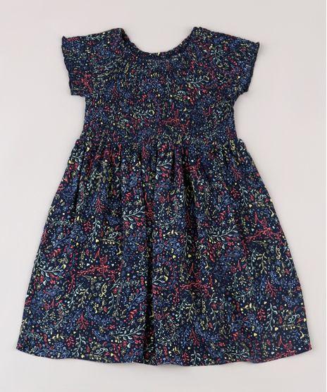 Vestido-Infantil-Estampado-de-Folhagens-com-Lastex-Manga-Curta-Azul-Marinho-9676019-Azul_Marinho_1