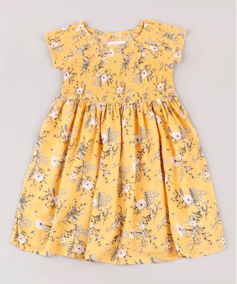 Vestido-Infantil-Estampado-Floral-com-Lastex-Manga-Curta-Mostarda-9676018-Mostarda_1
