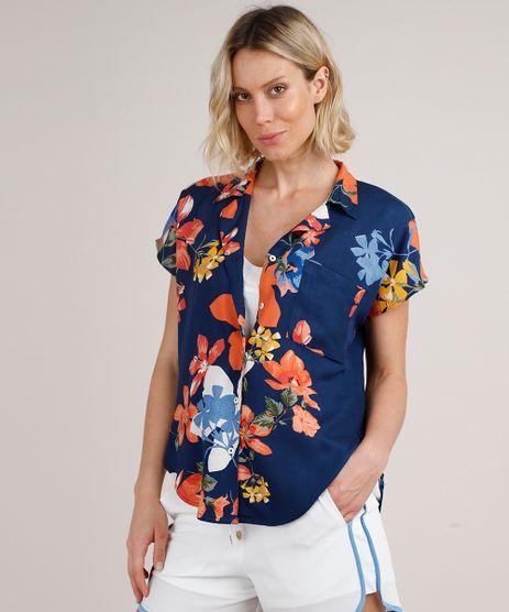 Camisa-Feminina-Estampada-Floral-com-Bolso-Manga-Curta-Azul-Marinho-9776962-Azul_Marinho_1