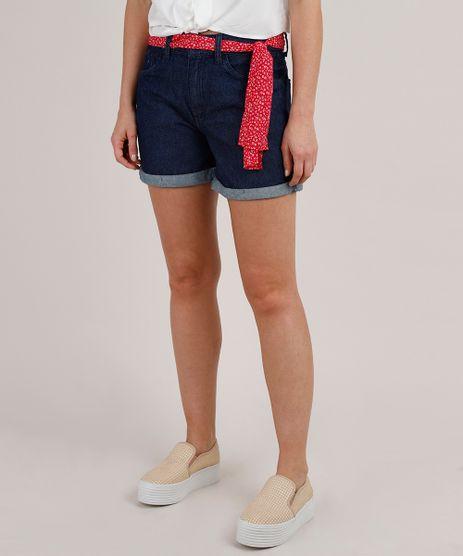 Short-Jeans-Feminino-Midi-Barra-Dobrada-com-Faixa-Estampada-Azul-Escuro-9823690-Azul_Escuro_1