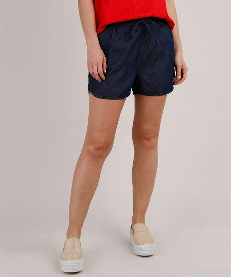 Short-Jeans-Feminino-Running-com-Cordao--Azul-Escuro-9818275-Azul_Escuro_1