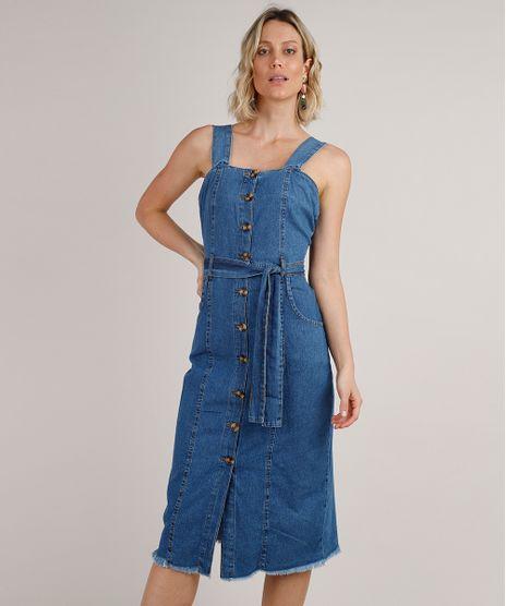 Vestido-Jeans-Feminino-Midi-com-Botoes-e-Faixa-para-Amarrar-Alca-Larga-Azul-Medio-9830495-Azul_Medio_1