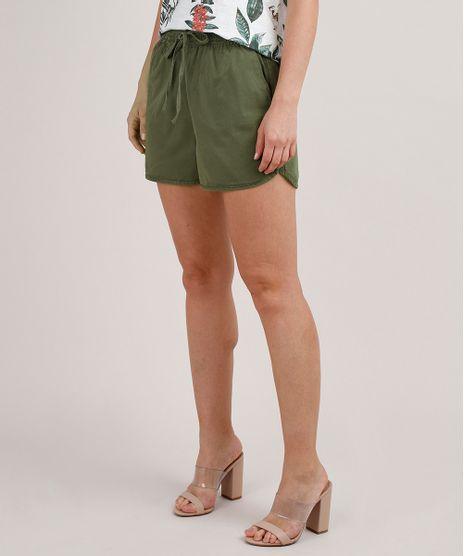 Short-de-Sarja-Feminino-Running-com-Cordao--Verde-Militar-9818273-Verde_Militar_1