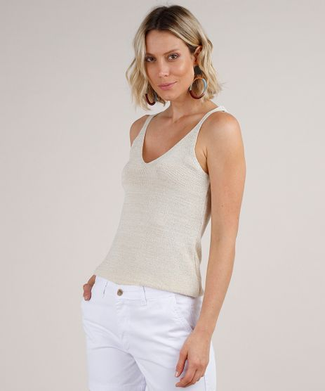 Regata-Feminina-em-Trico-com-Lurex-Alca-Media-Decote-V-Bege-Claro-9784883-Bege_Claro_1