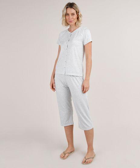 Pijama-Feminino-com-Botoes-e-Renda-Manga-Curta-Cinza-Mescla-9733187-Cinza_Mescla_1